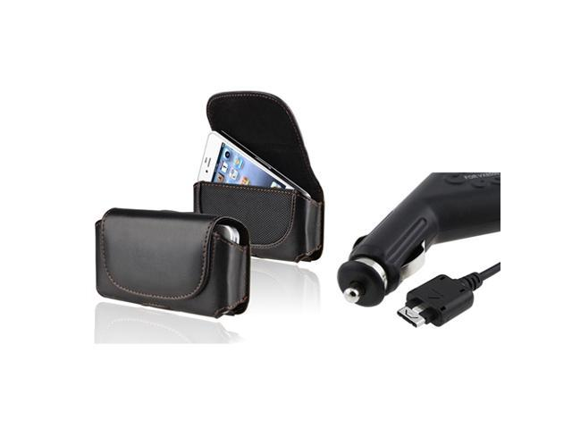 eForCity Car Charger + Leather Case Compatible With Sprint LG Lx260 Rumor