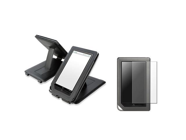 Anti-Glare Screen Protector+Black Stand Leather Case Folio Cover For Nook Color