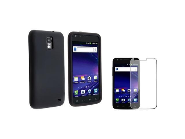 eForCity Black Silicone Skin Case + Reusable Screen Protector Bundle Compatible With Samsung© Galaxy SII/S2 Skyrocket SGH-i727