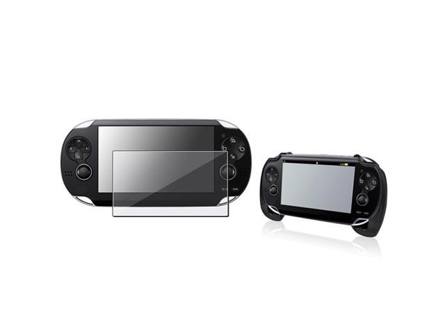 Black Hard plastic rubber coating Hand Grip with FREE Reusable Screen Protector for Sony PlayStation Vita