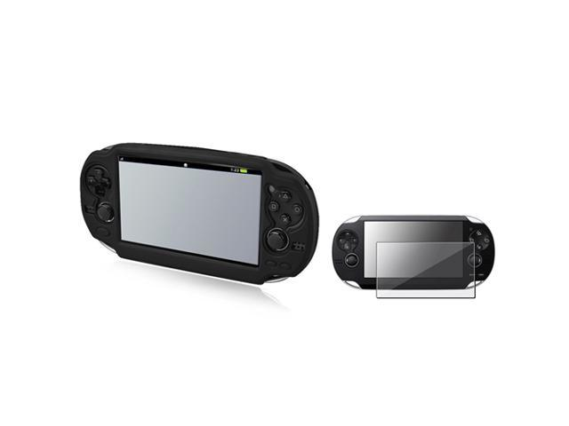 Eliminate Glare Anti-Glare Screen Protector filter + Black Silicone Soft Case for Sony Playstation PS vita