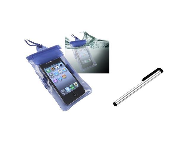 eForCity Blue Waterproof  Skin Case+S Stylus Pen Compatible with HTC EVO 3D Amaze Rezound Titan II