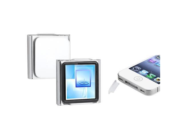 eForCity Clear Snap-on Crystal Case + Clear Plug Cap Compatible with Apple® iPod Nano 6th Generation