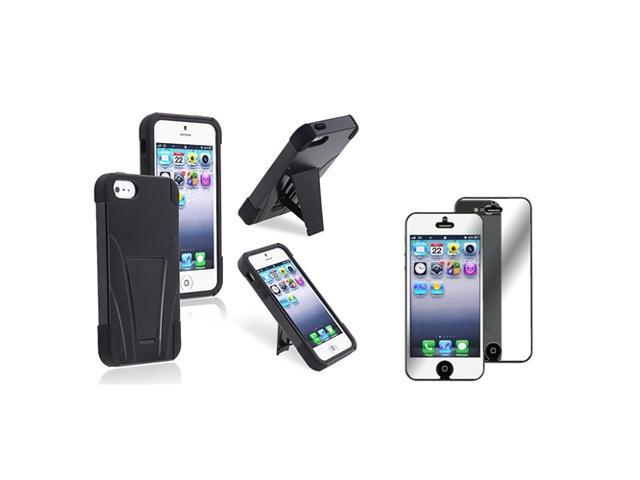eForCity Hybrid Black Black Frame & stand Silicone / Hard plastic Case + Mirror Screen Protector for Apple iPhone 5 / 5S