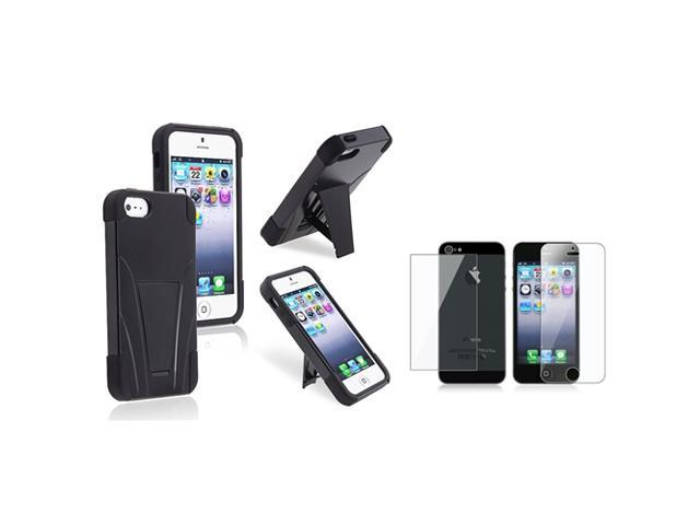 eForCity Hybrid Black Black Frame & stand Silicone / Hard plastic Case + Front & Back Reusable LCD Cover for Apple iPhone 5 / 5S