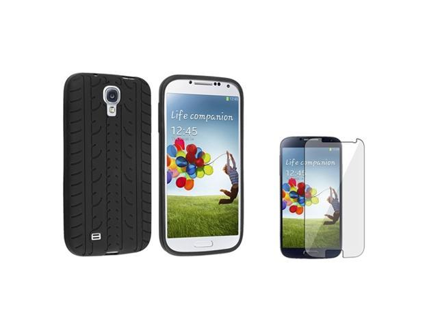 eForCity Black Tyre Silicone Skin Case And Clear Reusable Screen Cover Compatible With Samsung© Galaxy S IV / S4/ I9500/ I9505