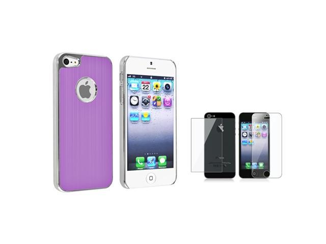 eForCity Purple Brushed Chrome Aluminum Rear Hard Case + Front & Back Reusable LCD Cover compatible with Apple® iPhone 5