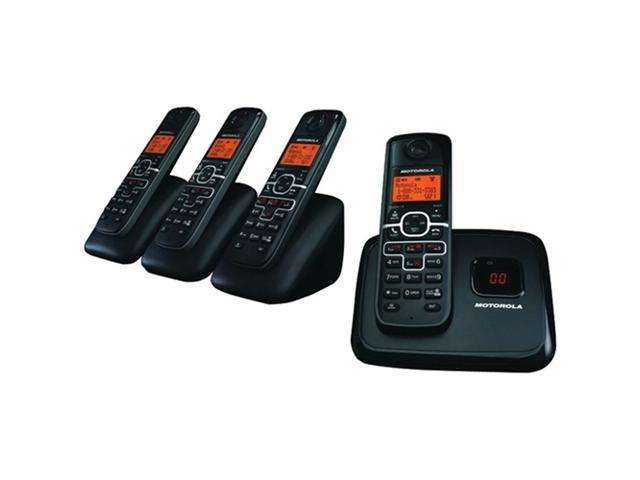 Motorola L704M Dect 6.0 Cordless Phone System With Caller Id, Digital Answering System & Speakerphone (4-Handset System With 3-Line Display)