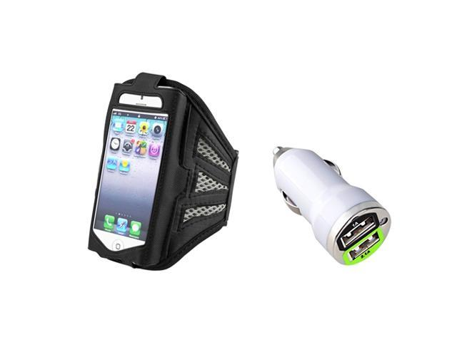 eForCity Mini Car Charger + Sports Arm Band Case Cover Carrier Black Grey Pouch For iPhone 5 / 5C / 5S / iPod Touch 5th / 6th Gen