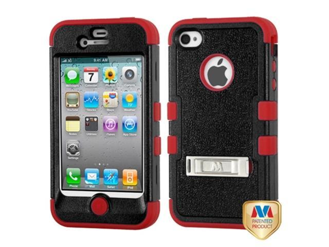 MYBAT iPhone 4S/4 Case Cover - Natural Black/Red TUFF Hybrid Phone Protector Cover (with Stand) For Apple iPhone 4S/4