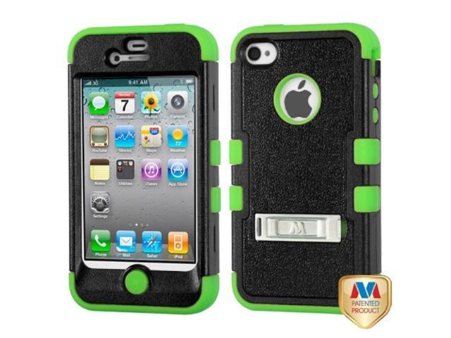 MYBAT iPhone 4S/4 Case Cover - Natural Black/Electric Green TUFF Hybrid Phone Protector Cover (with Stand) For Apple iPhone ...