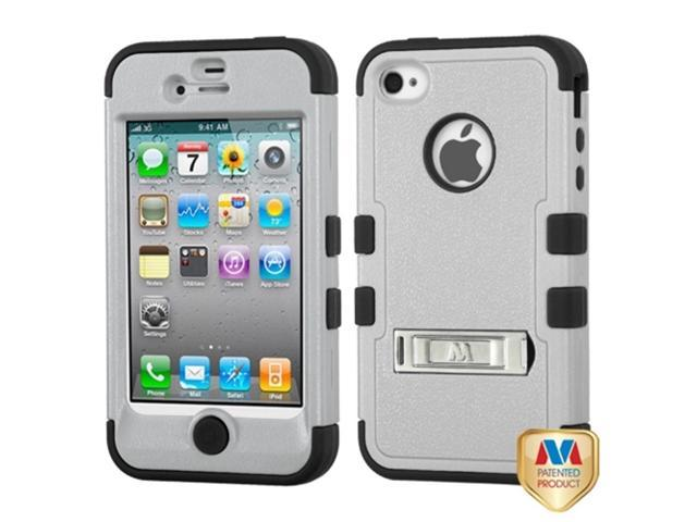 MYBAT iPhone 4S/4 Case Cover - Natural Grey/Black TUFF Hybrid Phone Protector Cover (with Stand) For Apple iPhone 4S/4