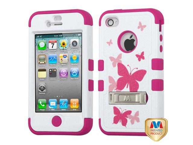 MYBAT iPhone 4S/4 Case Cover - Butterfly Dancing/Hot Pink TUFF Hybrid Phone Protector Cover (with Stand) For Apple iPhone ...
