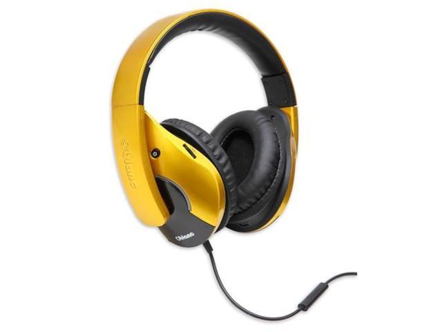 SYBA Oblanc Shell210 Over-Ear Dual Driver Amplified Stereo Headphones with In-line Mic, Golden OG-AUD63056