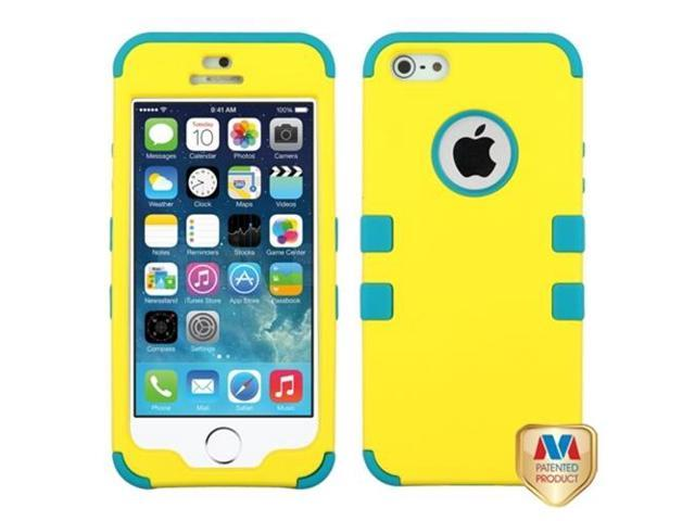 MYBAT Rubberized Yellow/Tropical Teal TUFF Hybrid Phone Protector Cover Compatible With Apple iPhone 5/ iPhone 5s
