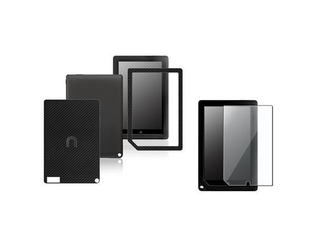 eForCity Black Carbon Fiber Front + Back Stickers + Screen Protector Film Compatible With B&N Nook HD Plus