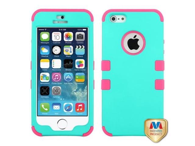 MYBAT Rubberized Teal Green/Electric Pink TUFF Hybrid Phone Protector Cover Compatible With APPLE iPhone 5s, iPhone 5