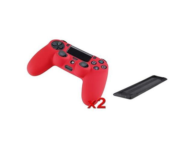 eForCity 2-Pack Red Silicone Skin Case with FREE Black Vertical Console Stand Compatible with Sony PlayStation 4 (PS4 )
