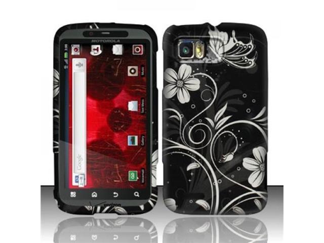BJ For Motorola Atrix 2 MB865 (AT&T) Rubberized Design Case Cover - White Flowers