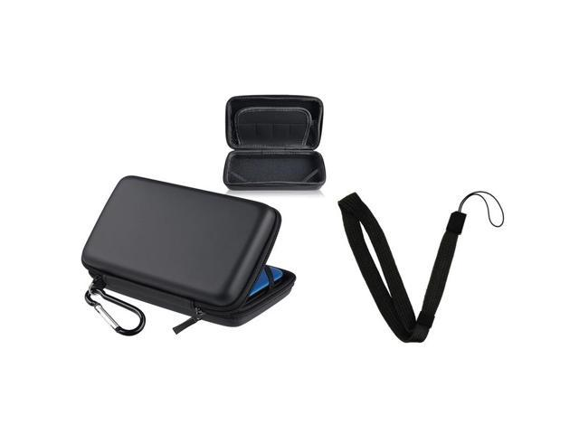 eForCity Black Eva Case Cover + Black Wrist Strap compatible with Nintendo 3DS XL / LL