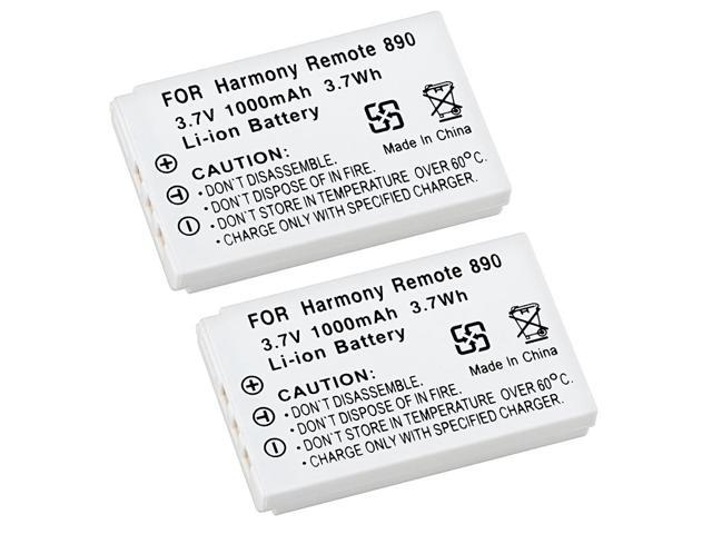 eForCity 2-Pack White 3.7v Li-ion Battery For Logitech Harmony Remote 890 885 880 720