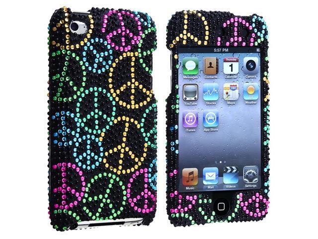Snap-on Case compatible with Apple iPod Touch 4th Gen, Black Rainbow Peace Sign Bling