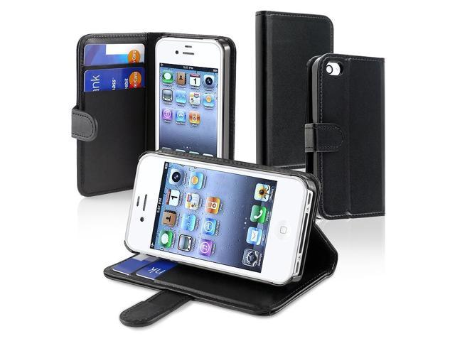 eForCity Apple At/Ver iPhone 4 Leather Case With Credit Card Wallet,Black