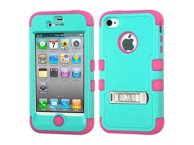 Natural Teal Green / Electric Pink TUFF Hybrid Phone Protector Cover (with Stand) For Apple iPhone 4 / 4S