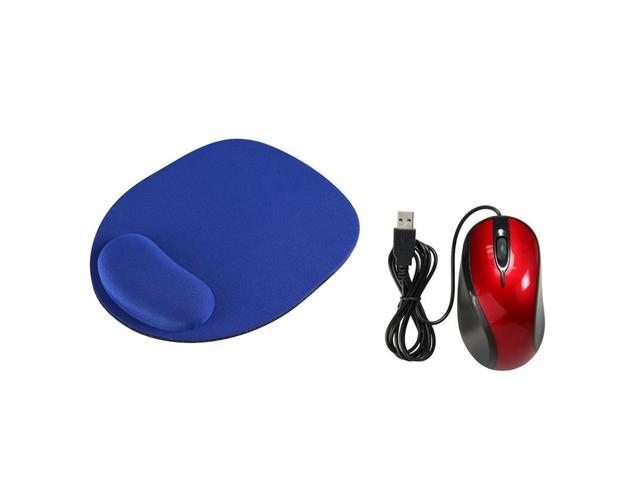 eForCity Red USB 2.0 Ergonomic Optical Scroll Wheel Mouse + Blue Wrist Comfort Mouse Pad