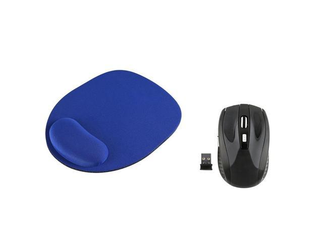 eForCity Blue Wrist Comfort Mouse Pad For Optical / Trackball Mouse w/ Black Wireless Optical Mouse