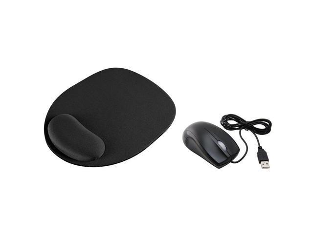 eForCity Black USB 2.0 Ergonomic Optical Scroll Wheel Mouse w/ Black Wrist Comfort Mouse Pad