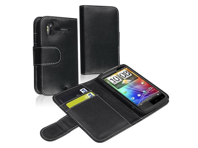 eForCity Leather Case With Card Holder Compatible With HTC Sensation 4G/ Black