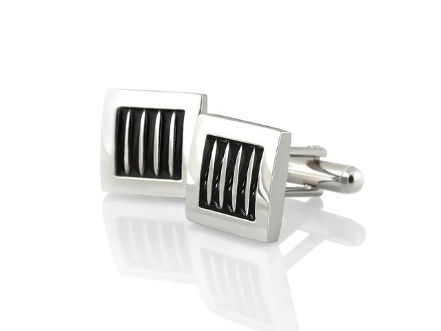 eForCity Silver Square Cufflinks with 5 Black Stripes