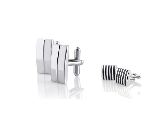 eForCity Silver Square Black Stripe Cufflinks + Silver Rectangular Stripe Cufflinks