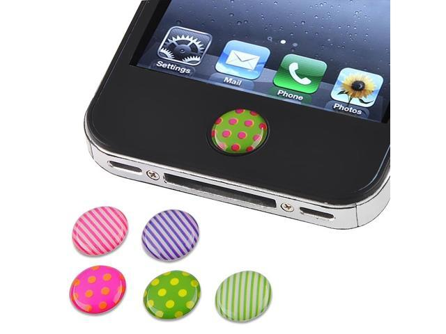 eForCity 6-Piece Home Button Sticker Compatible With Apple iPhone / iPad / iPod Touch / iPad Mini/iPad mini with Retina display (iPad Mini 2)/Dot / Strip