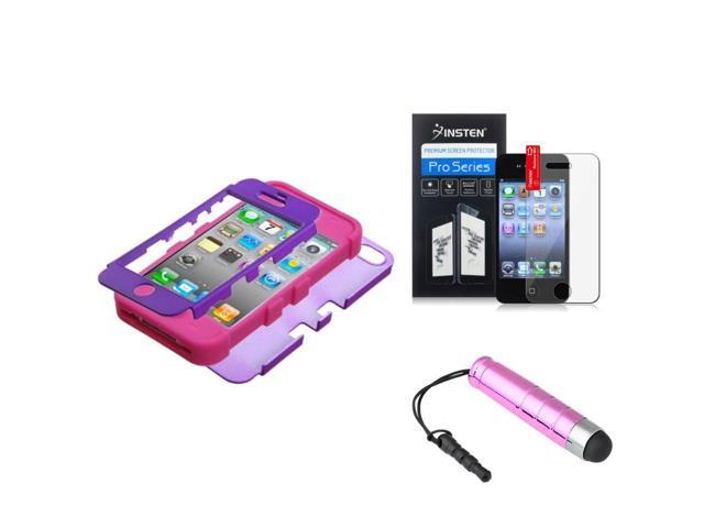 eForCity Rubberized Grape/Hot Pink TUFF Hybrid Case Cover + LCD Cover + Mini Stylus compatible with Apple® iPhone 4S/4
