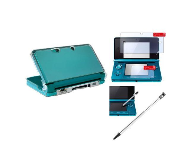 eForCity Clear Snap-on Crystal Case + 2-Piece Reusable Screen Protector + Barrel Aluminum Metal w/Black Cap Retractable Stylus Bundle Compatible With Nintendo 3DS