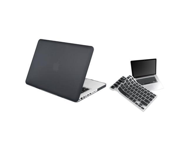 eForCity Compatible with Apple Macbook Pro Blak Snap on Rubber Case with FREE Black Keyboard Skin Shield