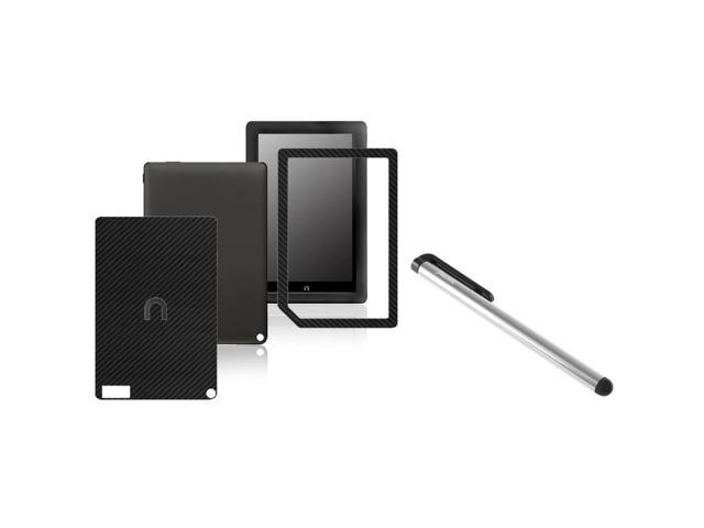 eForCity Carbon Fiber Black Front / Back Stickers + Silver Stylus Compatible With Barnes & Noble Nook HD+
