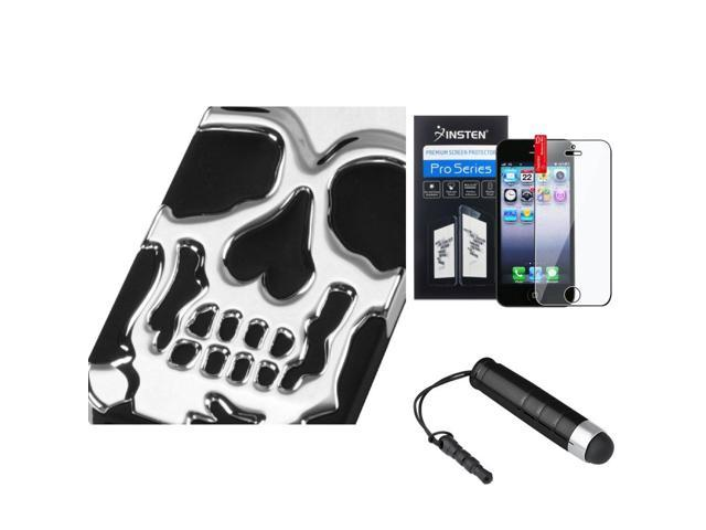 eForCity Film + Mini Stylus + for Apple iPhone 5 / 5S Case Hard Skullcap Hybrid Rubber Silver Plating/Black