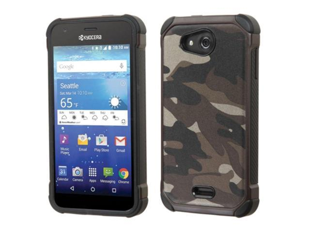Kyocera Hydro Wave Case, eForCity Camouflage Dual Layer [Shock Absorbing] Protection Hybrid Rubberized Hard PC/Silicone Case Cover For Kyocera Hydro Wave, Gray/Black