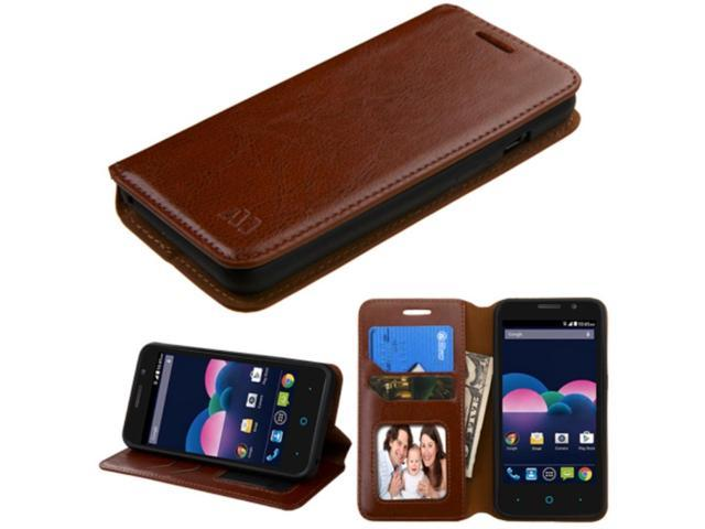 ZTE Obsidian Case, eForCity Stand Folio Flip Leather [Card Slot] Wallet Flap Pouch Case Cover For ZTE Obsidian, Brown