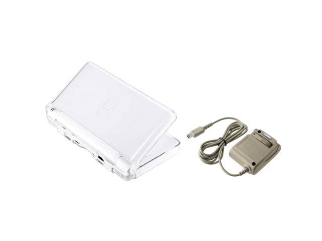 eForCity Clear Crystal Case + Travel Charger Bundle Compatible With Nintendo DS Lite