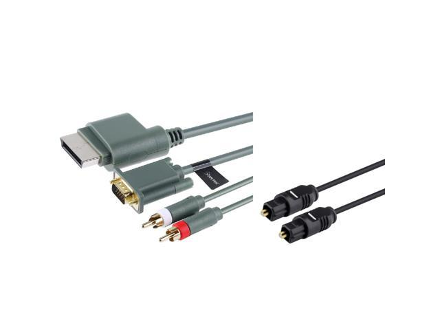 HD VGA Cable with Digital Optical Audio Port + Digital Optical Audio Toslink Cable for Xbox 360 by eForCity