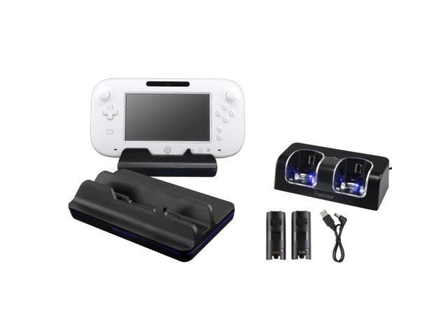 eForCity Black Dual Charging Station w/2 Rechargeable Batteries & LED Light + Black Cradle Charging Station Bundle Compatible With Nintendo Wii U