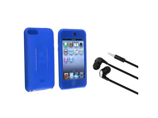 eForCity Black/Silver Universal 3.5mm In-Ear Stereo Headset + Blue Silicone Skin Case Bundle Compatible With Apple® iPod ...