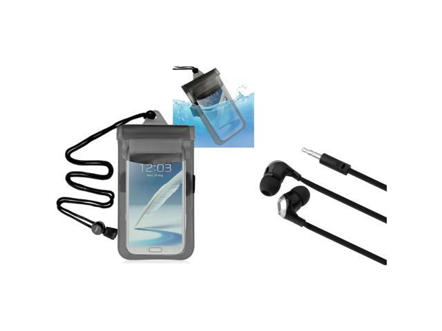 eForCity Clear Black Universal Waterproof Bag + Black/ Silver Universal 3.5mm In-Ear Stereo Headset For iPod Touch® 4 4th Gen