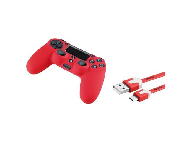 eForCity Red Silicone Skin PS4 Controller Case with FREE 3FT Red Micro USB 2-in-1 Flat Noodle Cable Compatible with Sony ...
