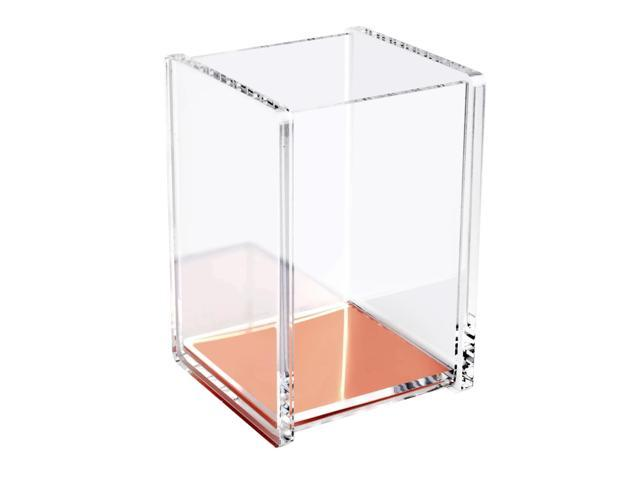 eForCity Acrylic Clear Rose Gold Pen Pencil Ruler Holder Cup Stationery Desktop Organizer Soft Touch Deluxe Design