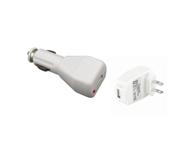 eForCity Universal Apple USB Charger Kit - 12V Car + Wall Charger (White) Compatible With Ipod iPhone iPod Touch iPod Nano